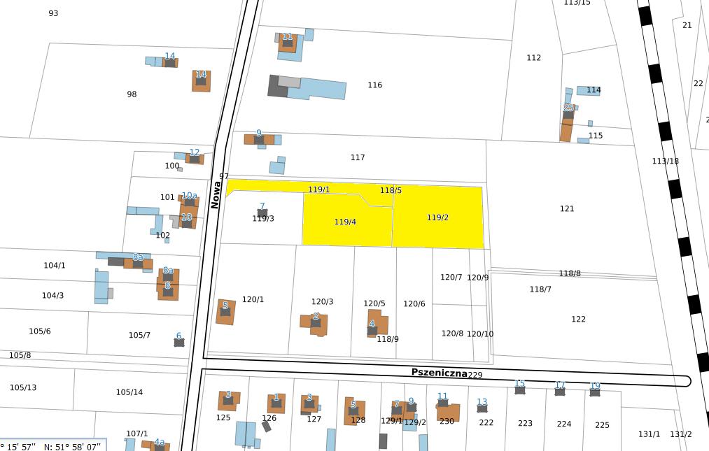 Mapa lokalizacyjna, działki ul. Nowa 7